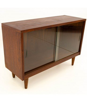 Crescent Furniture Mid Century Walnut Low Media Record Cabinet