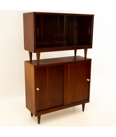 Crescent Furniture 2 Piece Mid Century Walnut Console Media Cabinet