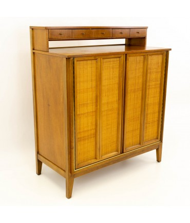Paul McCobb Style Mid Century Caned and Walnut Highboy Dresser from West Michigan Furniture Company