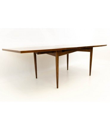 Merton Gershun for American of Martinsville Mid Century Walnut Dining Table with Three Leaves