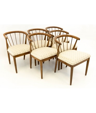 Merton Gershun for American of Martinsville Mid Century Walnut Dining Chairs - Set of 6