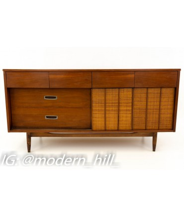 Restored Mainline By Hooker Reversible Door Cane and Walnut Mid Century 9 Drawer Lowboy