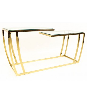 Leon Rosen for Pace Style Brass & Glass Mid Century Bi-level Console