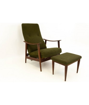 Folke Ohlssen for Dux Mid Century Reclining Green Wool Lounge Chair