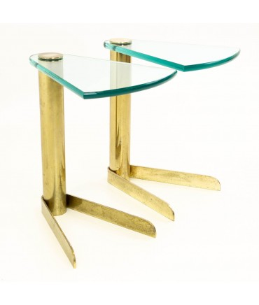 Pair of Pace Mid Century Brass & Glass Occasional Side End Tables