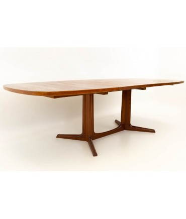 Niels Otto Moller for Gudme Mobelfabrik Teak Expanding Pedestal Mid Century 10 Person Dining Table