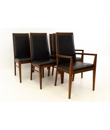 Merton Gershun for Dillingham Mid Century Walnut Dining Chairs Set of 6