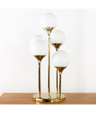 Reggiani Style Mid Century Brass and Chrome Waterfall Lamp