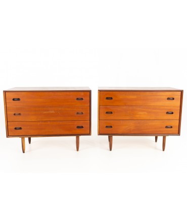 Peter Hvidt Style Mid Century 3 Drawer Chest of Drawers - Matching Pair