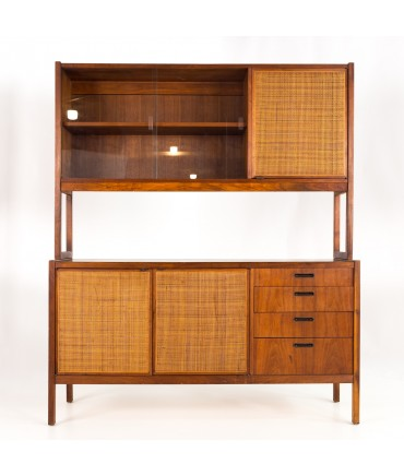 Jack Cartwright for Founders Mid Century Walnut Caned Credenza Buffet and Hutch