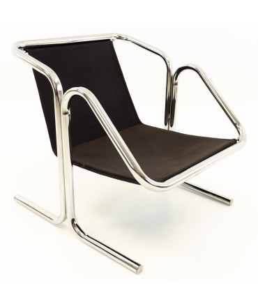 Jerry Johnson Mid Century Chrome Arcadia Sling Lounge Chair