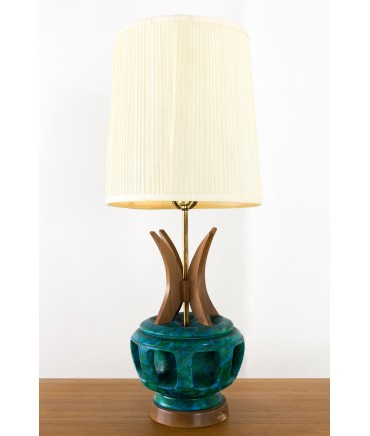 Bitossi Style Wood and Pottery Lamp