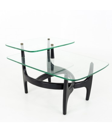 Adrian Pearsall Mid Century Modern Glass and Black Ebonized Side End Table