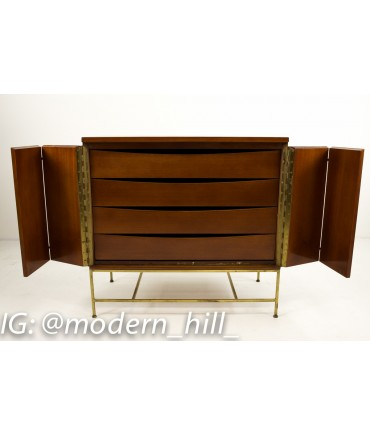Paul McCobb for Calvin Walnut and Brass Base Sideboard