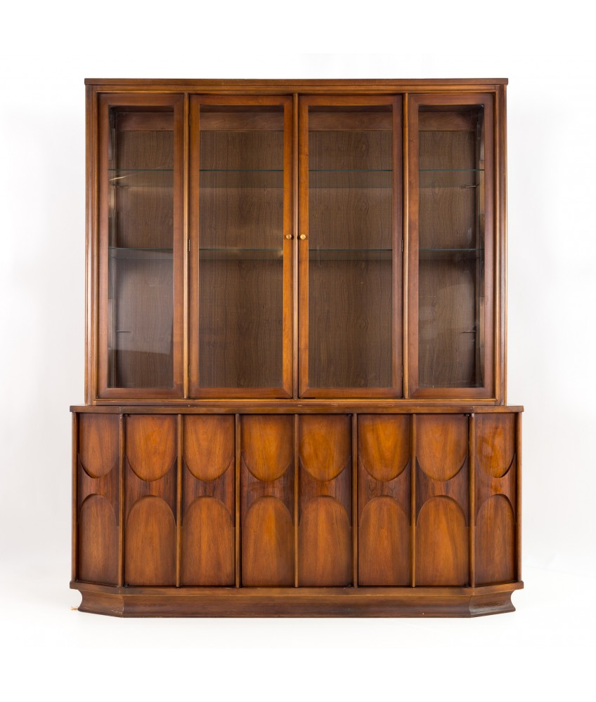Kent Coffey Perspecta Mid Century Walnut and Rosewood China Cabinet Sideboard Buffet and Hutch