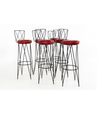Frederick Weinberg Style Hairpin Wrought Iron Bar Stools - Set of 6