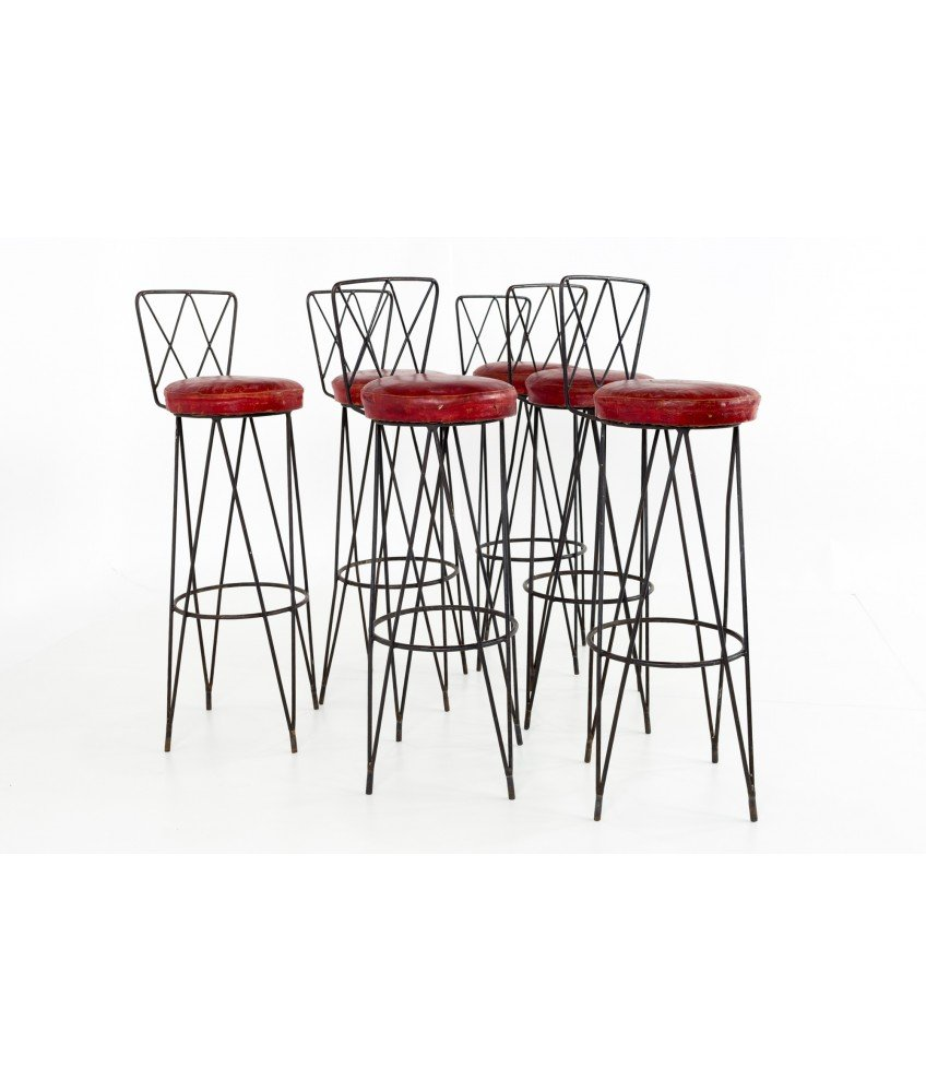 Wondrous Frederick Weinberg Style Hairpin Wrought Iron Bar Stools Set Of 6 Andrewgaddart Wooden Chair Designs For Living Room Andrewgaddartcom