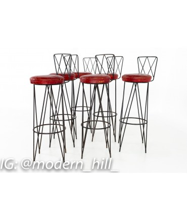 Sensational Frederick Weinberg Style Hairpin Wrought Iron Bar Stools Set Of 6 Andrewgaddart Wooden Chair Designs For Living Room Andrewgaddartcom