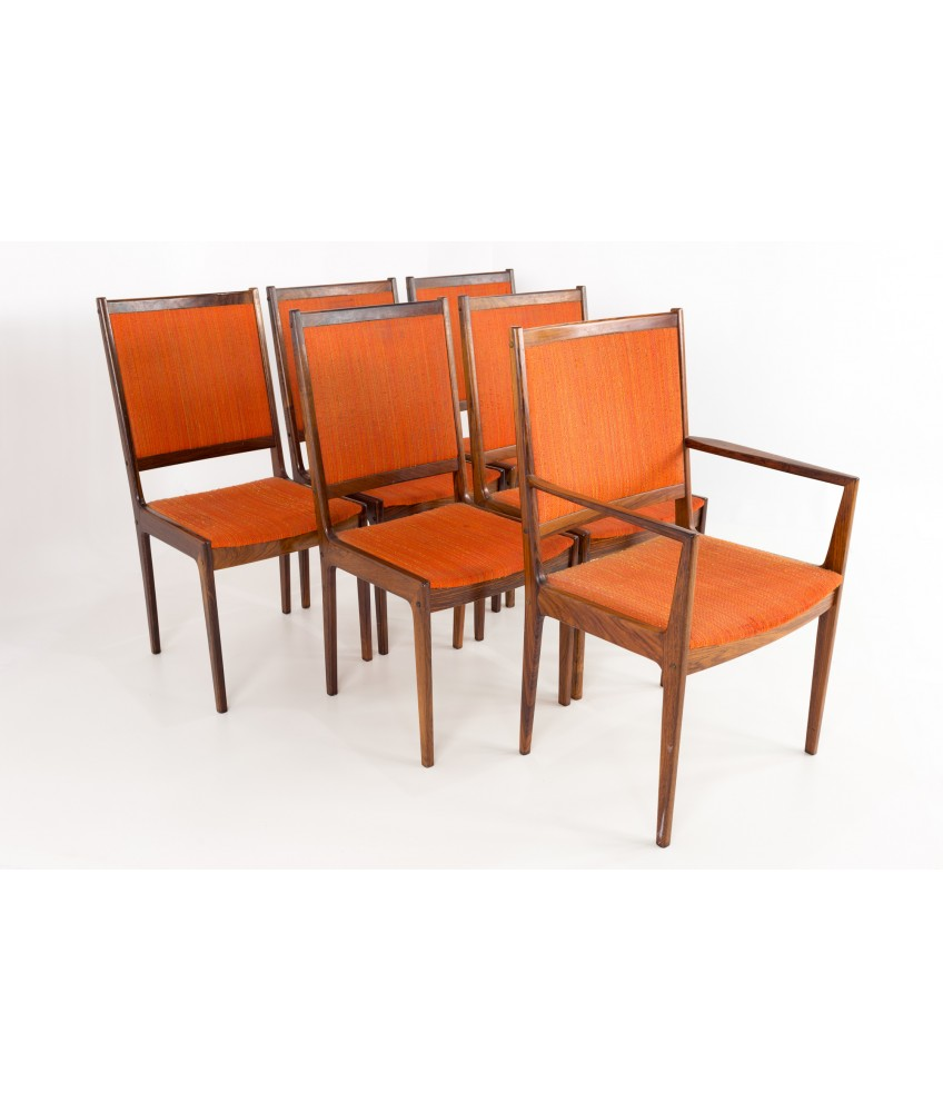 Kofod Larsen Mid Century Rosewood Highback Dining Chairs Set Of 6